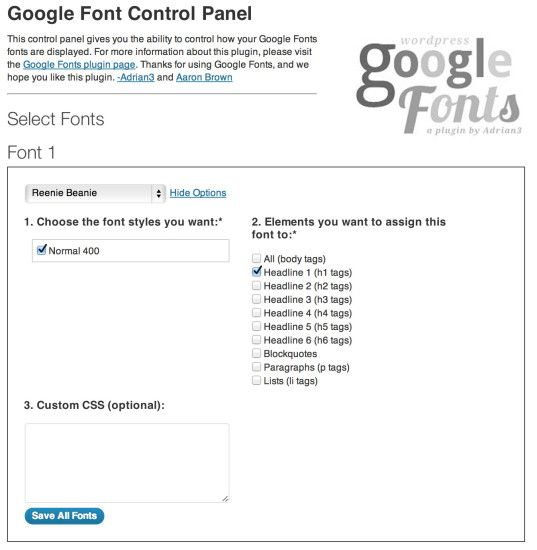 google-font-plugin