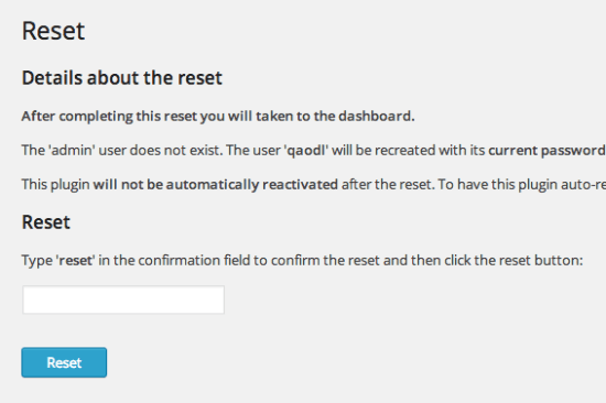 wordpress-reset