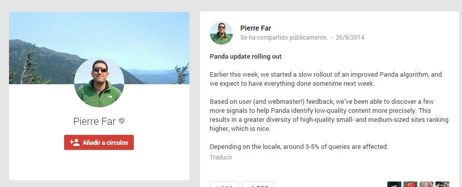 Google Panda 4.1 vivito y coleando