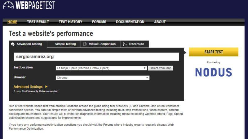 webpagetest-pantallazo
